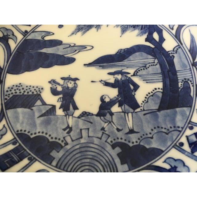 Asian Blue & White Japanese Scene Bowl For Sale - Image 3 of 6