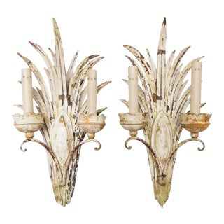 Pair of Iron 2-Arm Sconces With Painted White Finish