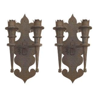 American Renaissance Revival Iron Wall Sconces For Sale