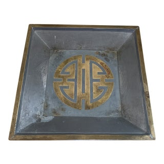 Vintage Chinese Pewter and Brass Tray or Catchall For Sale
