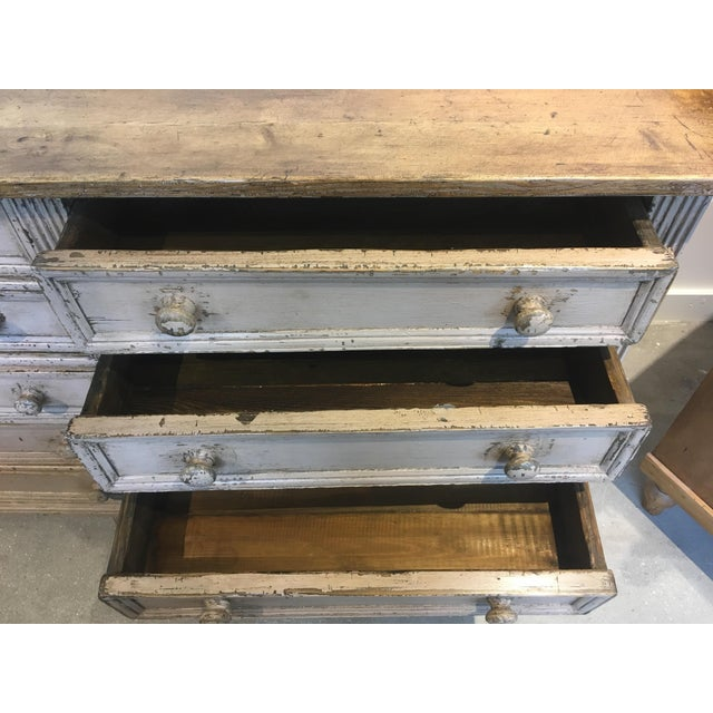 Late 20th Century 10 Drawer English Antiqued Buffet For Sale - Image 5 of 8