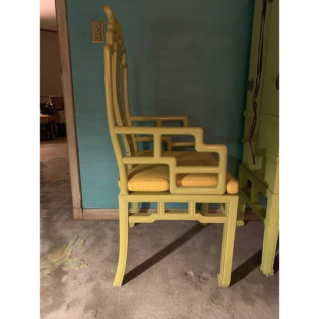 1960s Vintage Yellow Wooden Hand Painted Asian Decorative Chairs- A Pair For Sale In New York - Image 6 of 13