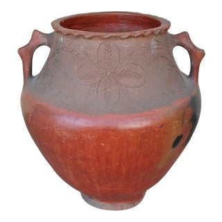 Large Central American Redware Vase With Handles For Sale