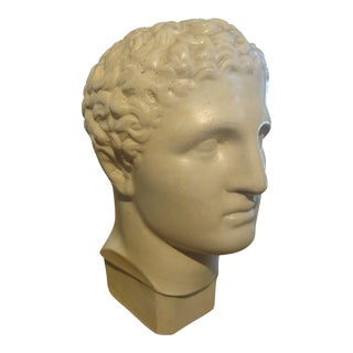 1920s Vintage French Plaster Bust of a Classical Male Sculpture For Sale