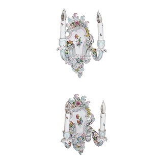 Porcelain Rococo Sconces Pair For Sale