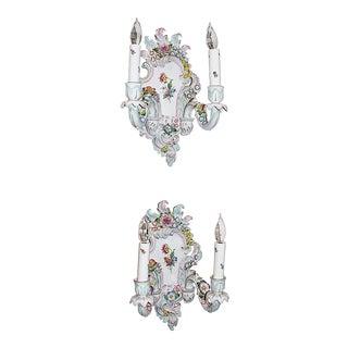 Porcelain Rococo Sconces Pair