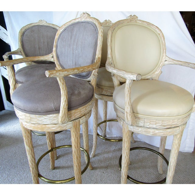 Faux Bois & Leather Upholstered Swivel Bar Stools - Set of 4 - Image 3 of 6