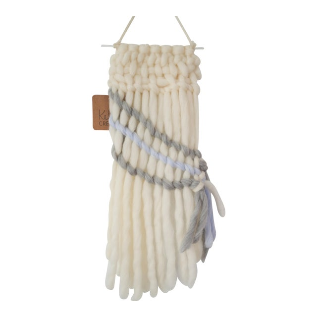 Handwoven Cream, Gray & Pale Blue Wall Hanging - Image 1 of 5