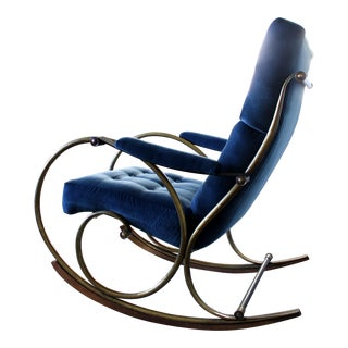 1970s Mid-Century Modern Woodard Navy Blue Velvet Brass Rocker For Sale