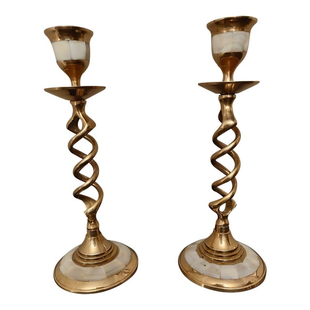 Hollywood Regency Mother of Pearl Brass Candlesticks - a Pair For Sale