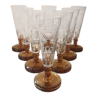 8 Art Deco Antique Hawkes Amber Cut Crystal Champagne Flutes For Sale