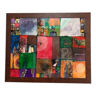 Late 20th Century Sudanese African Abushariaa Ahmed Original Abstract Painting For Sale