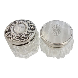 Vintage Sterling Silver & Pressed Glass Vanity Jars - a Pair For Sale