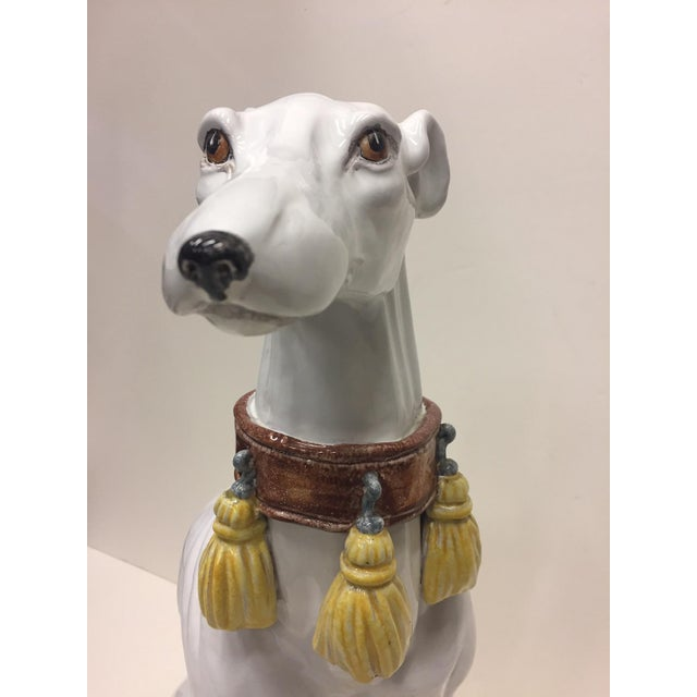 White Glazed Terracotta Greyhound Sculpture For Sale - Image 8 of 13