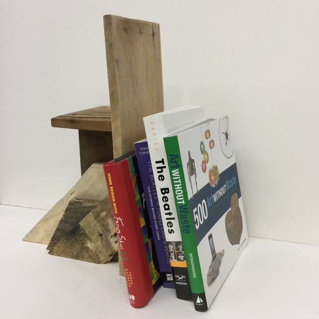 Industrial Rustic Industrial Wood Bookend & Display Shelf For Sale - Image 3 of 11