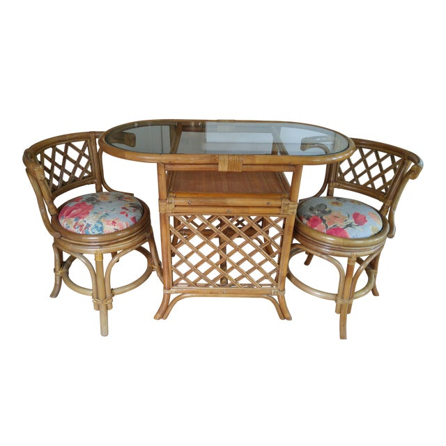 Groovy Vintage Bamboo Game Table Chairs Set Interior Design Ideas Apansoteloinfo