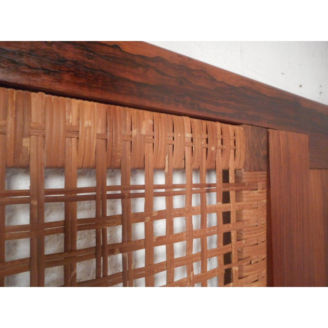 Midcentury Queen Sized Rosewood and Cane Headboard For Sale - Image 10 of 11