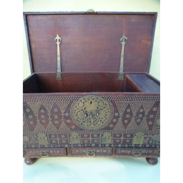 Moorish Teak & Brass Studded Trunk For Sale - Image 9 of 9