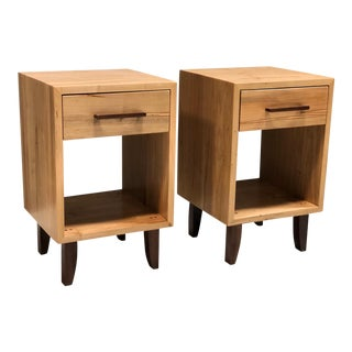 Danish Modern 1 Dr Side Table Nighstands Pair For Sale