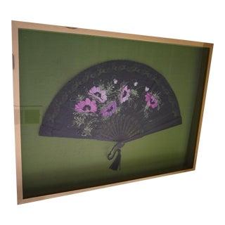 Vintage Metal Framed Italian Silk Hand Fan For Sale