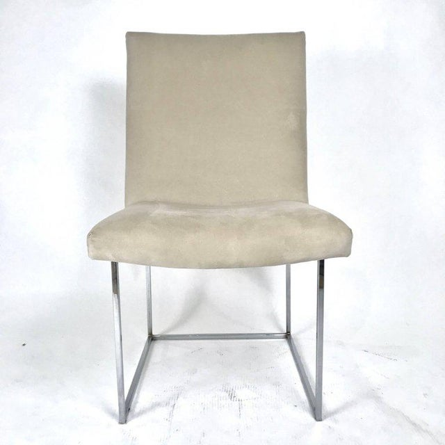 Mid-Century Modern Milo Baughman for Thayer Coggin Chrome Framed Dining Chairs With Ultrasuede For Sale - Image 3 of 6