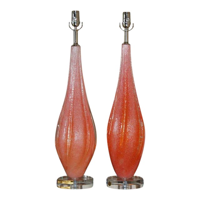 Vintage Murano Pulegoso Glass Table Lamps Orange For Sale