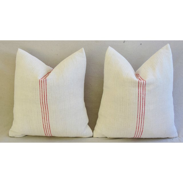 Red French Country Red Striped Gain Sack Pillows - Pair For Sale - Image 8 of 11