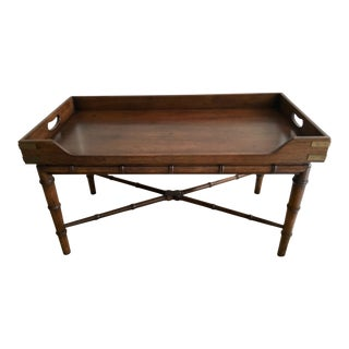 1970s Vintage Faux Bamboo Campaign Style Tray Table For Sale