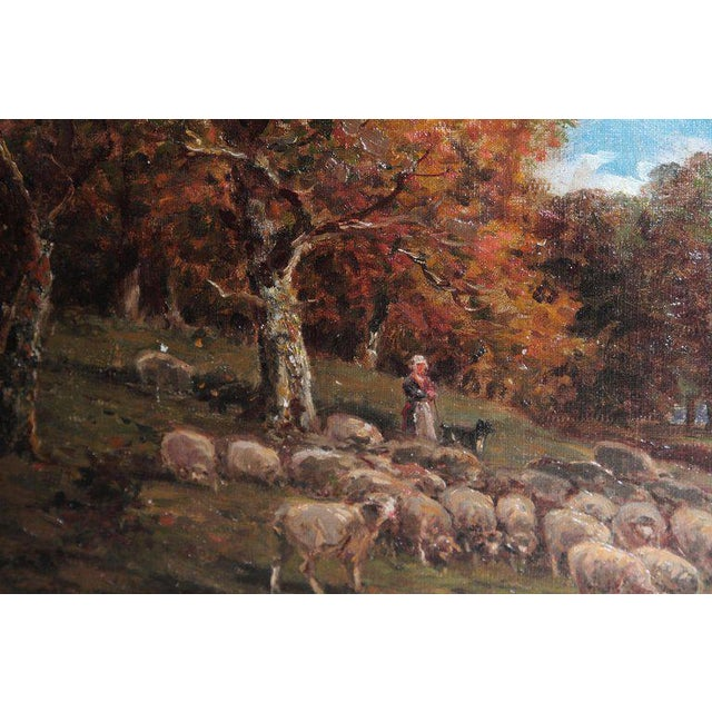 19th Century Oil Painting of Sheep Signed James Desvarreux For Sale In Dallas - Image 6 of 13