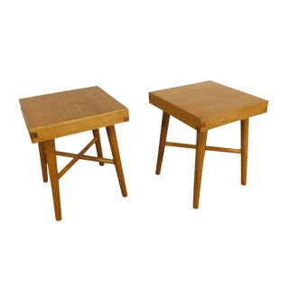 Mid Century Modern Pair Studio Crafted Small Square Oak Tables Stools B For Sale