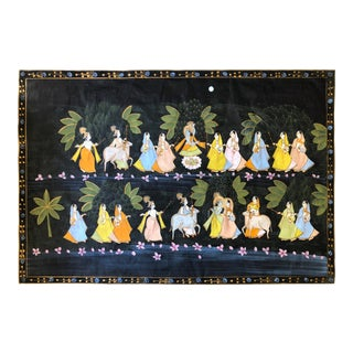1950s Vintage Mid Century Pichhavai Silk Hand Painting For Sale