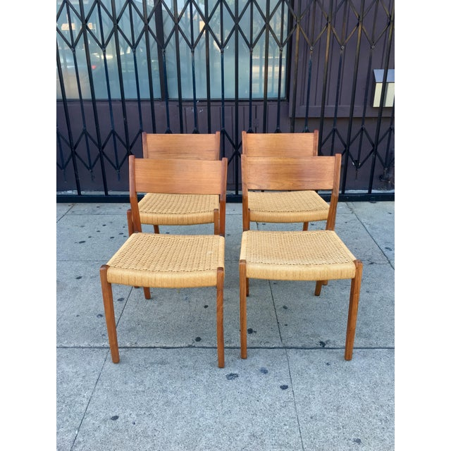 Danish Modern Teak and Rope Chairs - Set of 4 - Image 3 of 9