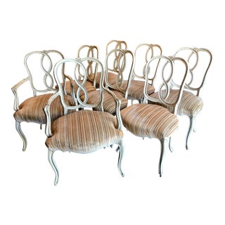 Set of 8 Italian-Ventian Style Ribbon Back Dining Chairs For Sale