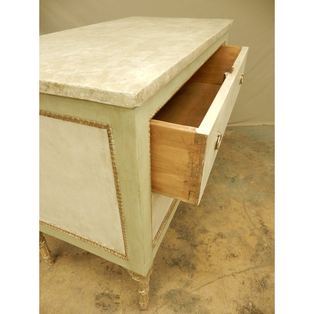 Late 19th Century Italian Louis XVI Style Painted Two Drawer Commode For Sale - Image 5 of 8