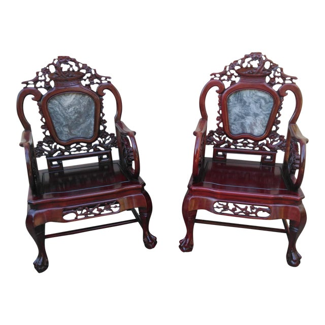 Chinese Carved Solid Rosewood Marble Back Armchairs - a Pair For Sale