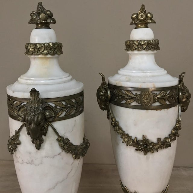 French Pair 19th Century French Louis XVI Marble Cassolettes ~ Mantel Urns With Bronze Mounts For Sale - Image 3 of 12