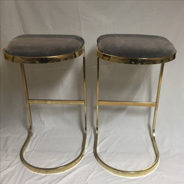 Vintage Brass & Gray Velvet Bar Stools - a Pair For Sale - Image 4 of 8