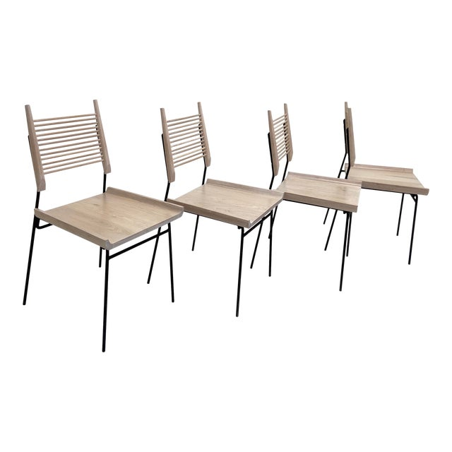 Paul McCobb Style Oak and Iron Chairs- Set of 4 For Sale