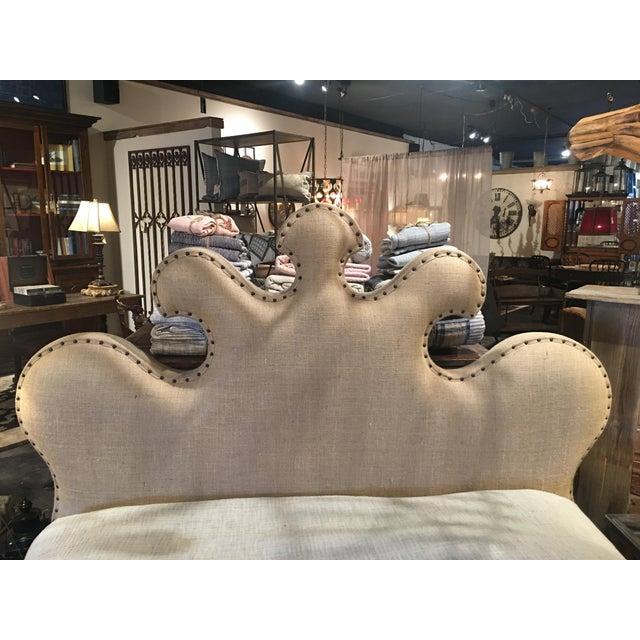 Noir Queen Burlap Bed For Sale - Image 5 of 10