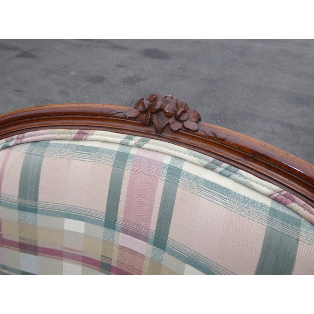 Vintage French Country Carved Wood & Plaid Arm Chair - Image 7 of 11