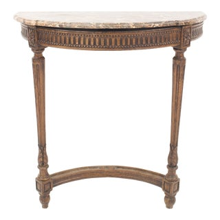 French Louis XVI Oak and Marble Demilune Console Table For Sale