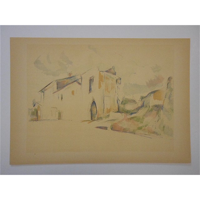 This screenprint (silkscreen) depicts one of Paul Cezanne's (France 1839-1906) watercolors. This extremely well known...