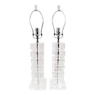 Restoration Hardware Stacked Hand-Cut Crystal Block Table Lamps - A Pair