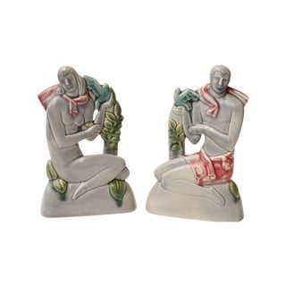 Art Deco Male and Female Sculpture - Pair For Sale