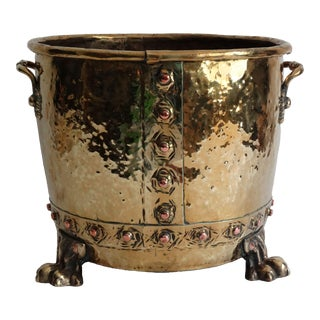 Large English Antique Brass Jardiniere Planter For Sale