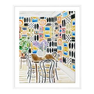 Ready for Conversation by Kate Lewis in White Frame, Medium Art Print For Sale
