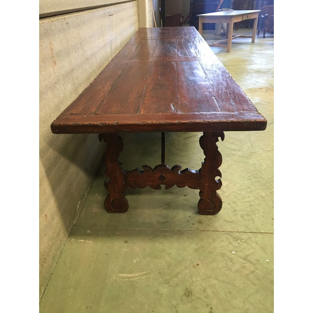 Walnut Early 19th Century French Baroque Style Walnut Trestle Dining Farm Table For Sale - Image 7 of 11