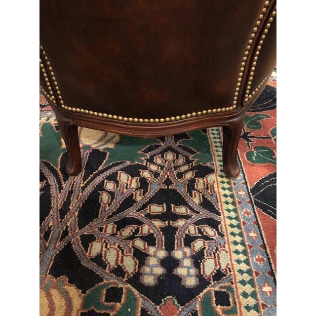 Brown Tufted Burnished Leather Club Chairs - a Pair For Sale - Image 8 of 13