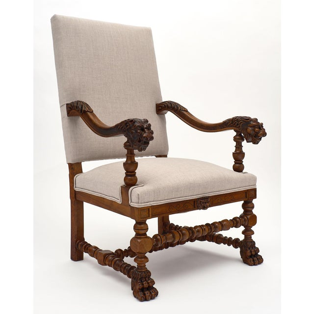 Louis XIII Style French Armchairs For Sale - Image 4 of 10