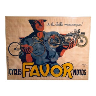 Jumbo Framed Vintage Favor Cycles Print For Sale